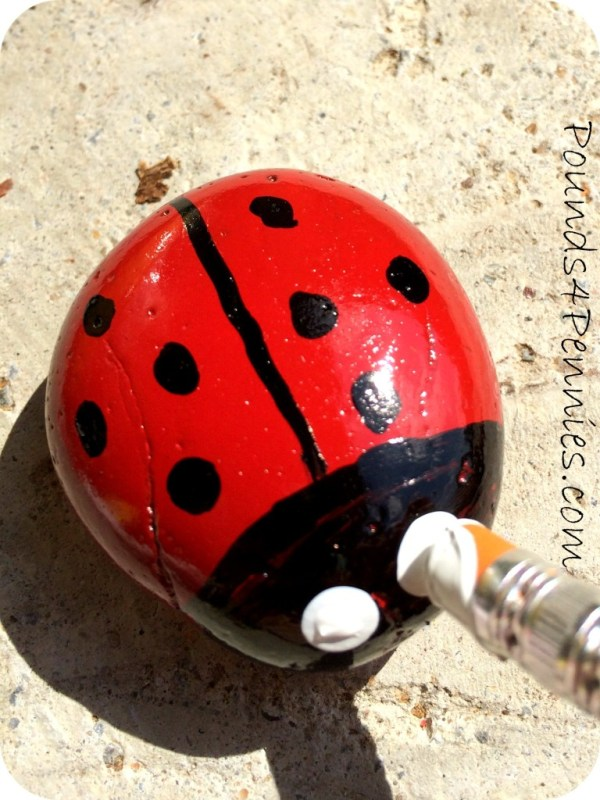 Painted Ladybug rock eyes