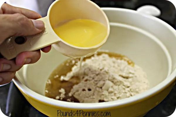 pouring oil for homemade tortillas