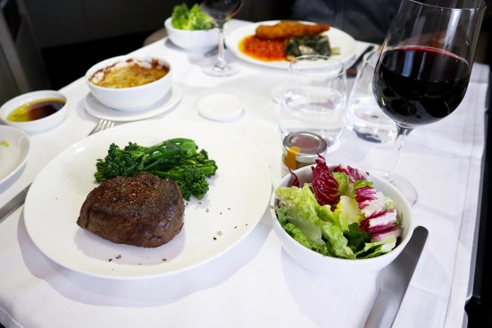 Qantas A380 First Class Steak
