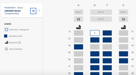 SIA Booking Seat Map