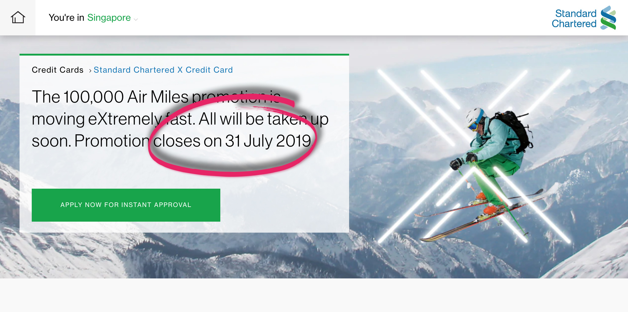 Standard Chartered cuts short the X Card 100k sign-up promo by a month