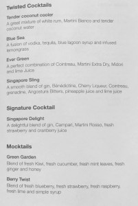 Menu Cocktails