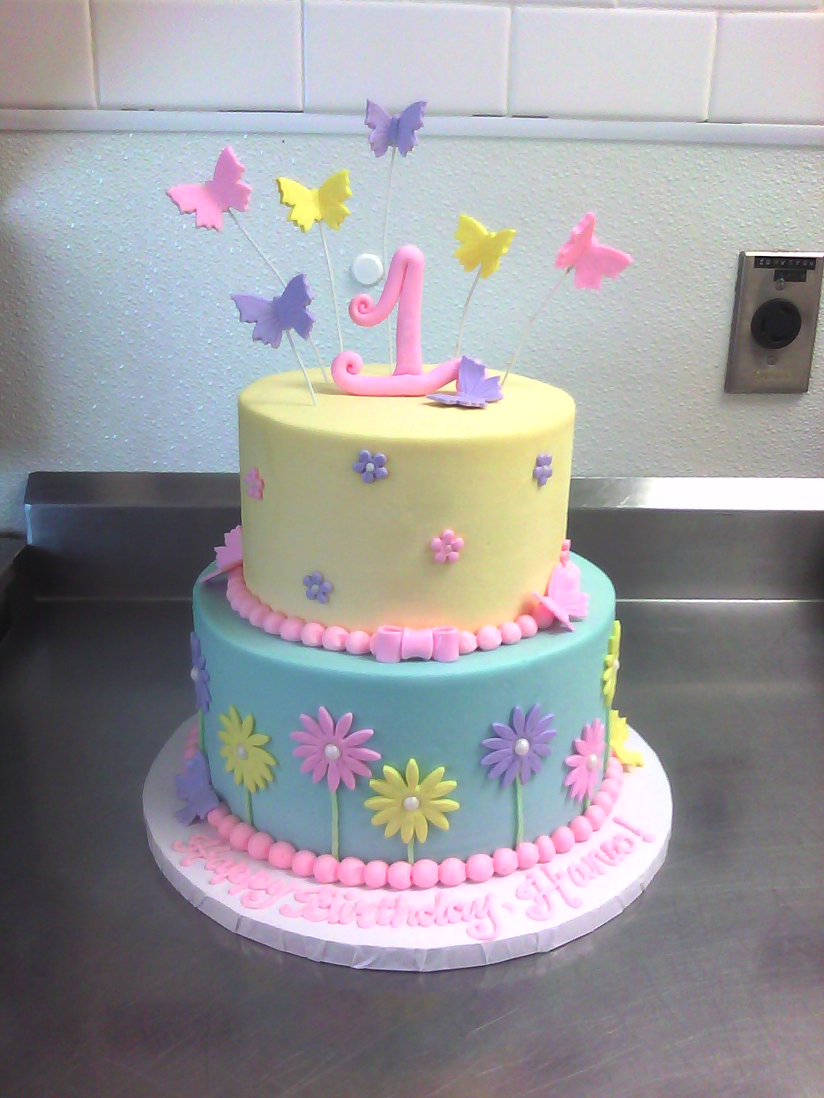 1st Birthday Cake With Butterflies Amp Flowers Main Made