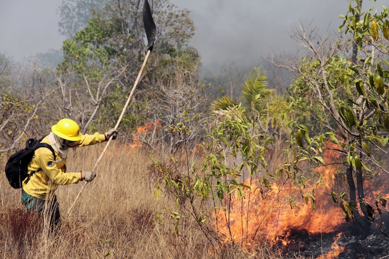 Prevfogo/Ibama agency officials battle 2016 fires in Xingu Indigenous Park. Image by Ibama via Wikimedia Commons (CC BY-SA 2.0).