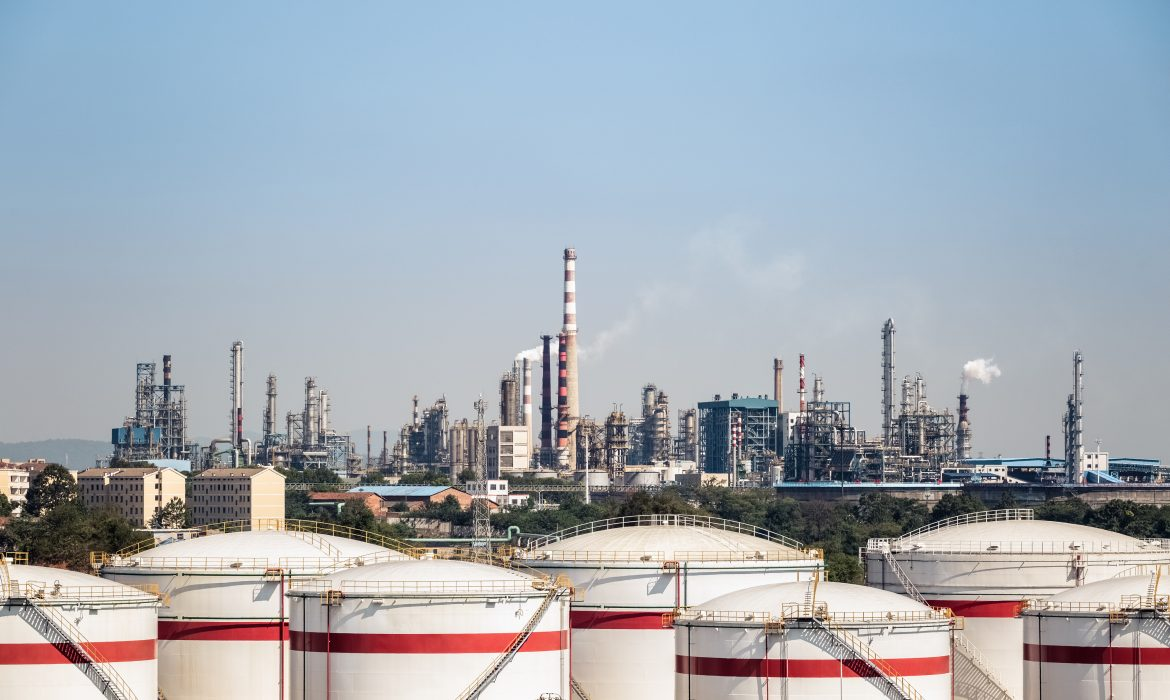 petrochemical complex and storage tanks