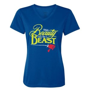 Beauty-Runs-like-a-beast-ladies-performance-vneck