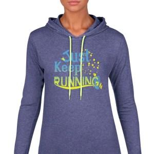 Just-keep-running-ladies-lightweight-hoodie-royal-blue
