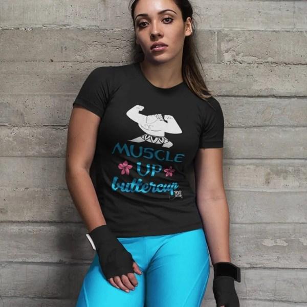 Muscle-up-buttercup-ladies-performance-vneck-black-model