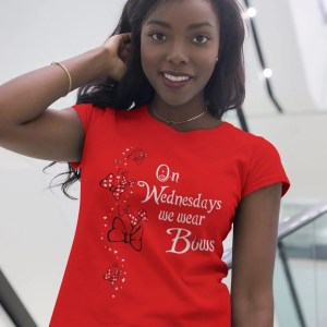 We-wear-bows-unisex-cotton-poly-crew-red-model