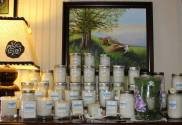 Candles by Misty Blue Candles (plus painting by J.S. Hossler and lamp by Debbie Griffith).