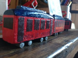 Trolley ornaments by Charlie Paschal.