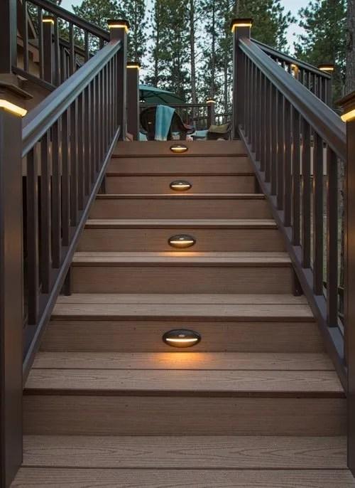 timbertech azek deck rail lighting riser light