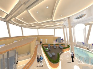 Hyperlapse: Interior view of Level 1 which represents a '5 Star Hotel' Theme. Passengers at this level get a chance relax and refresh themselves. '5 Star Hotel' themed rooms, napping area and lounge seating areas are provided at this level providing its passengers with maximum amount of comfort and relaxation.