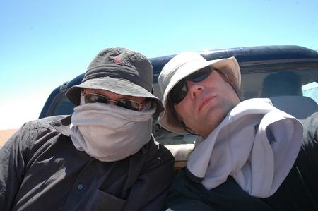 Mijn zakenpartner en ik, ergens aan de Limes Tripolitanus