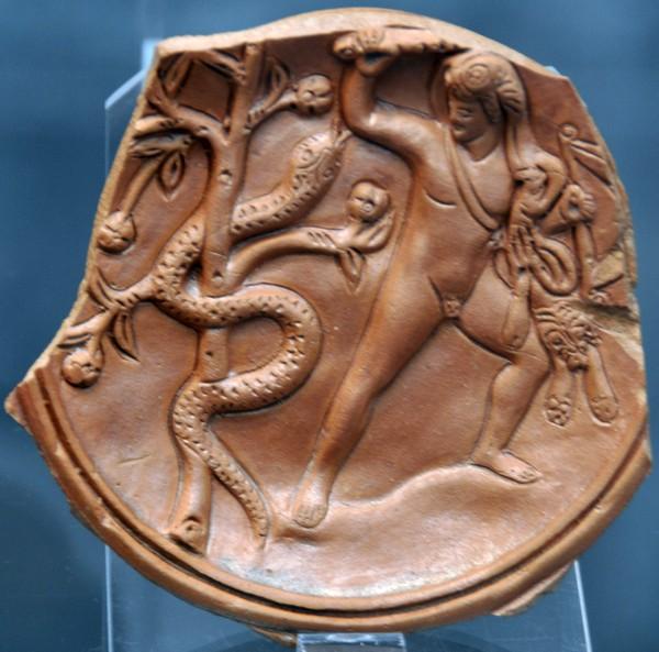Een net niet helemaal scherpe foto die ik maakte in de Antikensammlung in München: Herakles in gevecht met de slang Ladon.