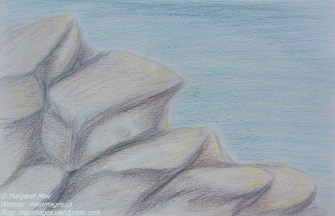 On the rocks, M. Mair, original art, pencil
