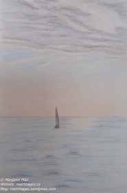 Sailing toward sunrise, M. Mair, original art