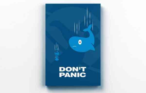 Placa Decorativa de Metal Don't Panic a Baleia e o Vaso