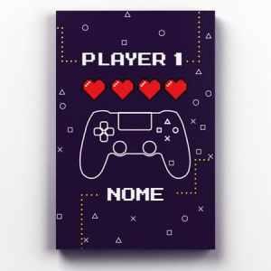Placa Decorativa de Metal Player1 e Player2