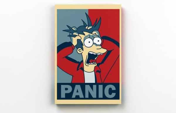 Placa Decorativa de Metal Futurama Panic