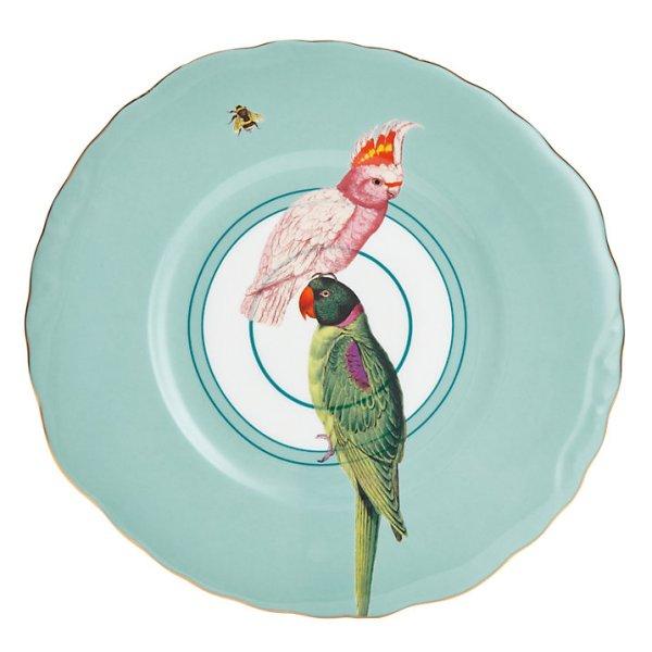 Yvonne Ellen Parrots Plate, White/Multi