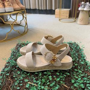 Beige Suede Flat Sandal with Diamanté Buckle