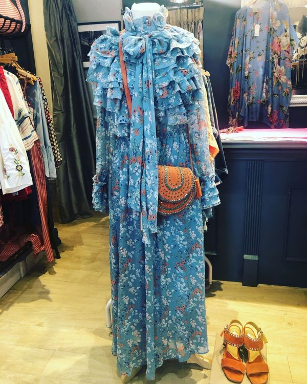 Blue Maxi Floral Print Frill Gown With Bow