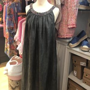 Organic Linen Dark Grey Maxi Dress With Beaded Neckline
