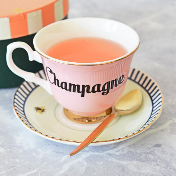 Pastel Champagne Tea Cup & Saucer