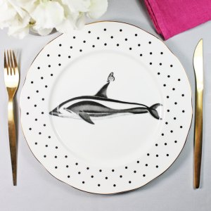 Monochrome Dolphins and Butterflies Dinner Plate, White/Black
