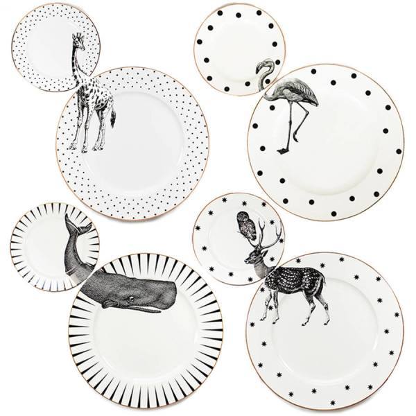 Yvonne Ellen Monochrome Animal Plate Set_All