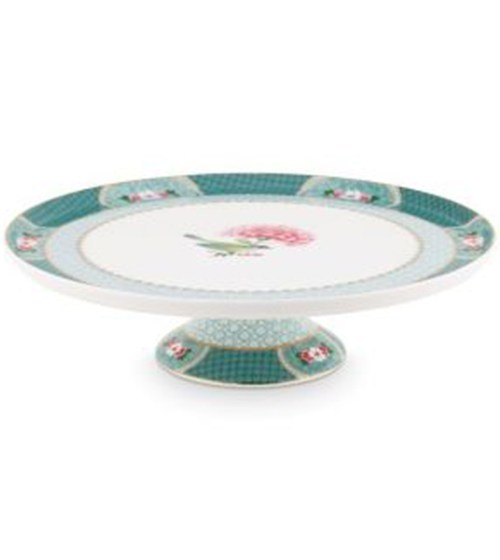 Blushing Birds Blue Round Cake Platter