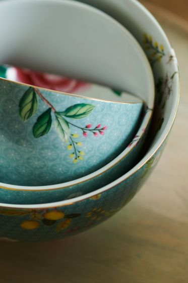 Blushing Birds Blue Small Bowl