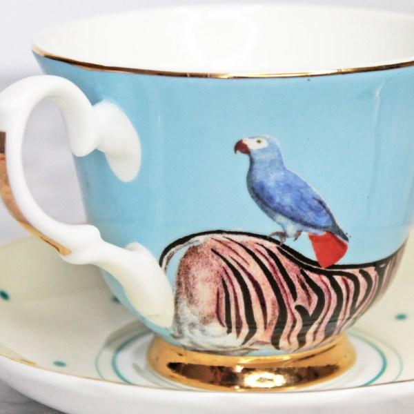 Yvonne Ellen Zebra and Parrot Teacup and Saucer