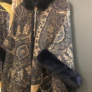 Rino & Pelle Paisley Cape Style Coat with Faux Fur Trim