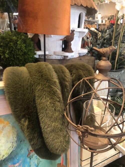 Nooki London Faux Fur Long Thin Sage Green Scarf
