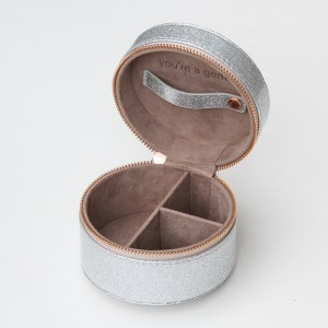 Caroline Gardner Round Silver Glitter Travel Jewellery Box