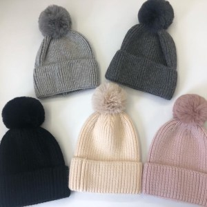 Faux Fur Pom Pom Bobble Hats