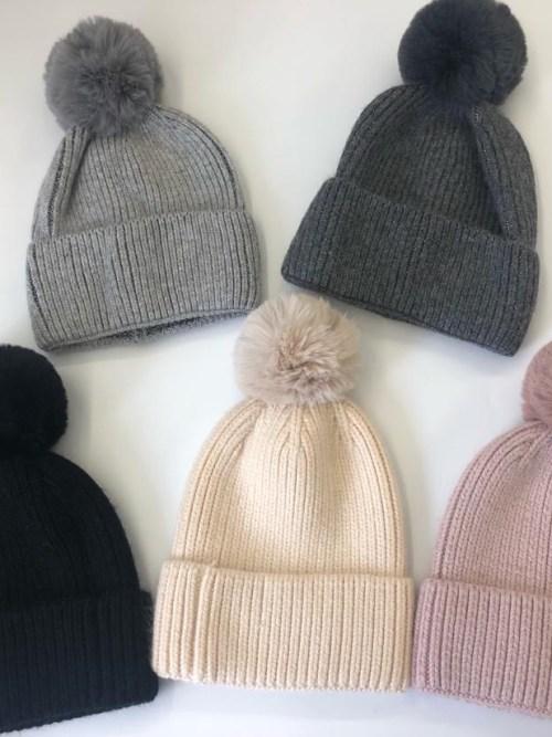 Faux Fur Pom Pom Bobble Hats