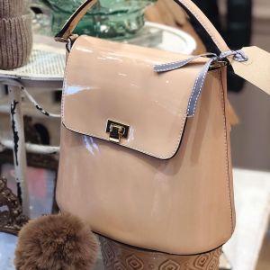Patent Nude Handbag
