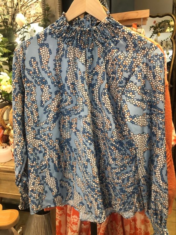 Pretty Ruffle Neck Shirt with Dotted Pattern