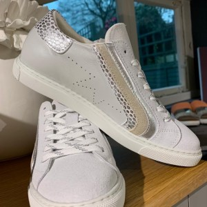 Pedro Costa White Trainer with Silver Detail