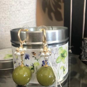 Sage Green Bobble Earrings
