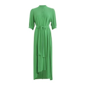 Emerald Green Dress with Buttons and Waistband