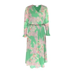 Feather Bloom Green Dress with Smock Details