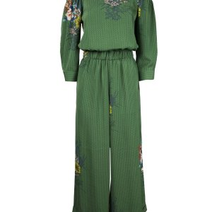 Green Palazzo Jumpsuit and Boat Collar with Floral Print