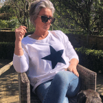 White Cotton Lounge Top with Navy Blue Star