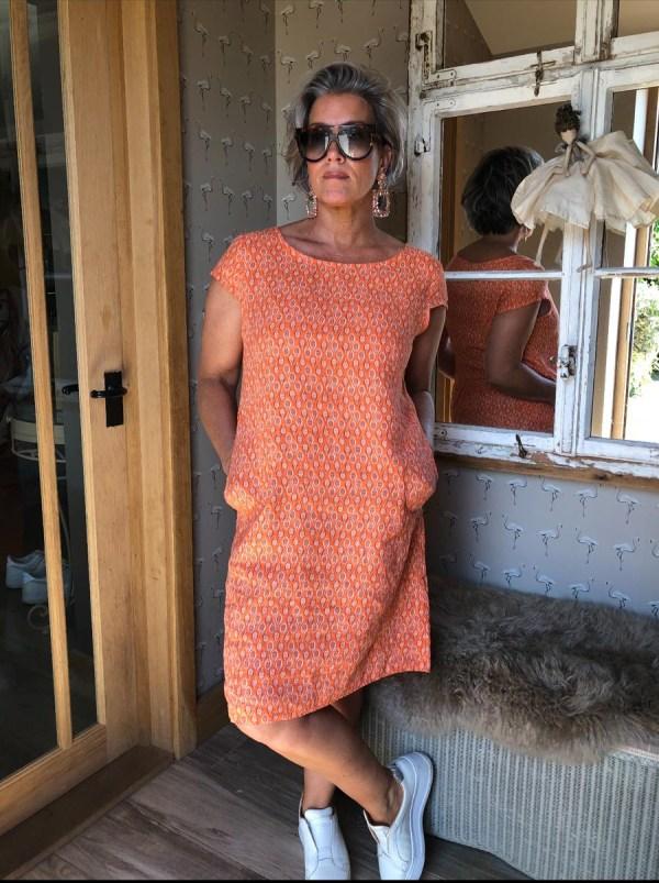Leaf Patterned Linen Day Dress