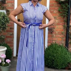 Emme Marella Purple/White Striped Dress