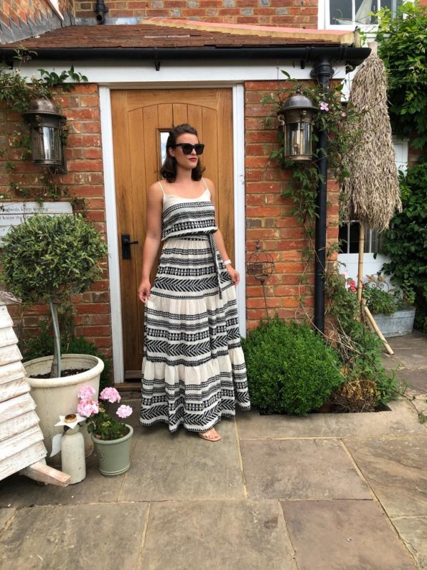 Devotion Maxi Boho Dress in Black & White